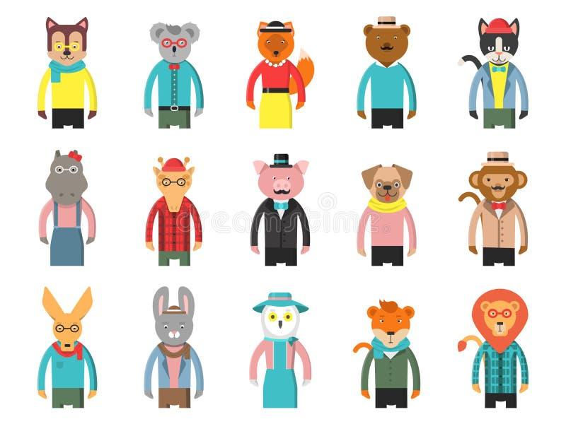 Inconformistas de los caracteres del parque zoológico Los avatares del juego de la vista delantera de los animales de la historie libre illustration