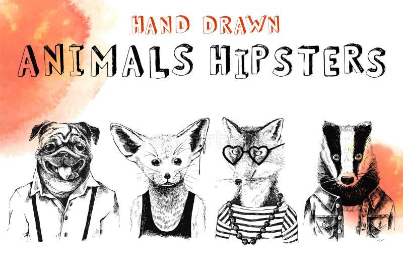 Inconformistas dibujados mano de los animales fijados stock de ilustración