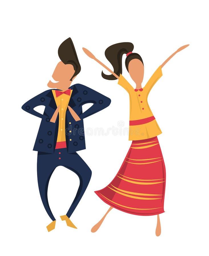 Inconformistas que bailan en ropa retra stock de ilustración