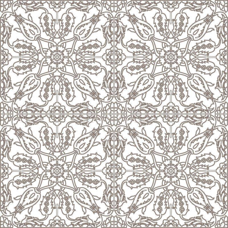 Inconsútil adornado floral de la decoración del vintage del Arabesque para el templa del diseño ilustración del vector