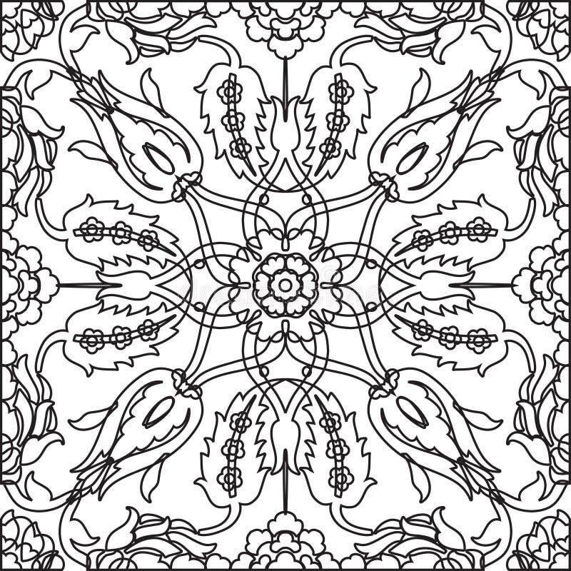 Inconsútil adornado floral de la decoración del vintage del Arabesque para el templa del diseño stock de ilustración