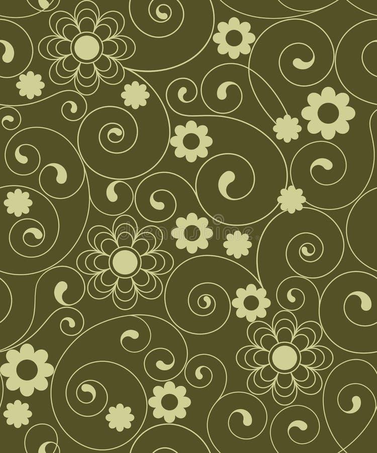 Inconsútil con las flores verdes ilustración del vector