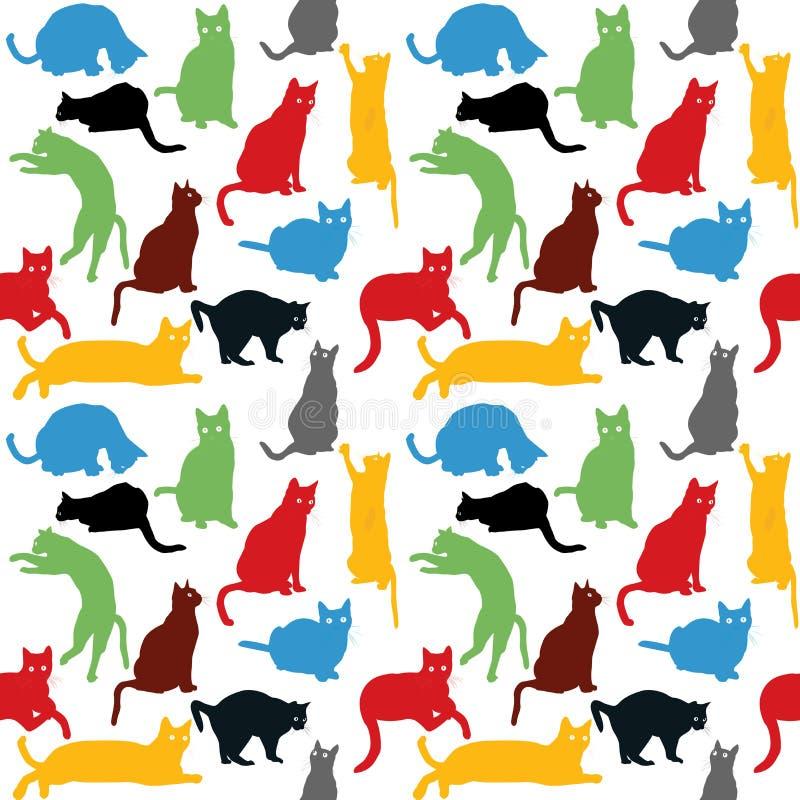 Inconsútil con las siluetas coloridas de los gatos, fondo para los niños stock de ilustración