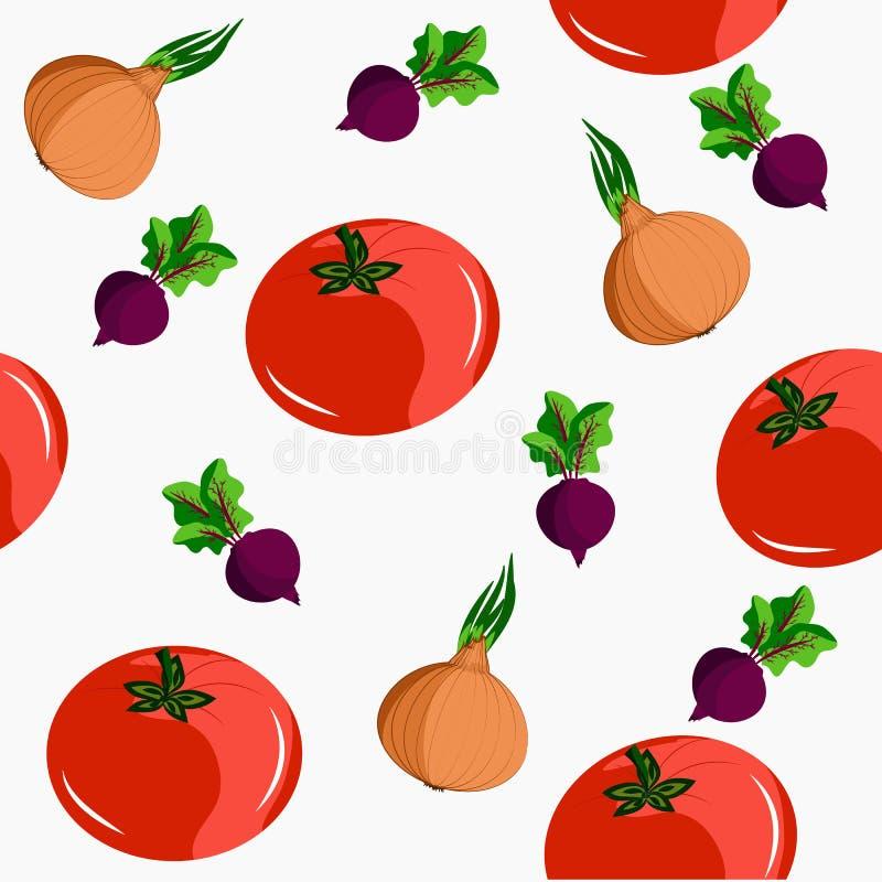 Inconsútil con las verduras: tomates, remolachas y cebollas stock de ilustración
