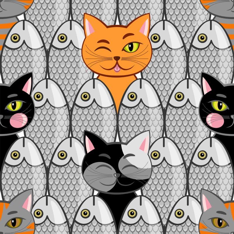 Inconsútil con los pescados y los gatos ilustración del vector