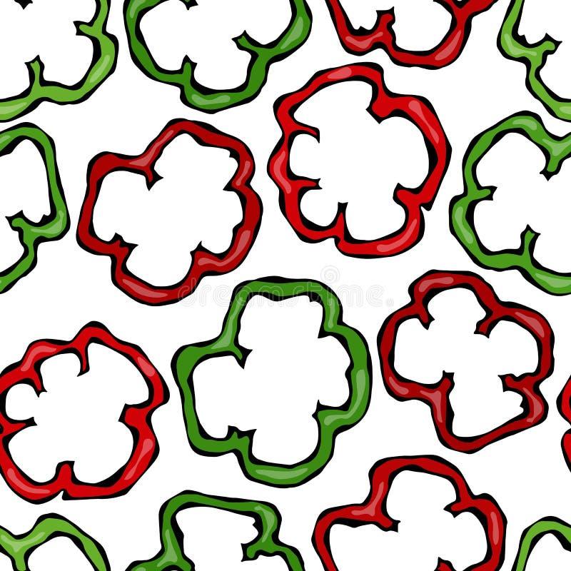 Inconsútil de Paprika Slices roja y verde, del paprika o de los cortes búlgaros dulces de la pimienta Aislado en un fondo blanco  stock de ilustración