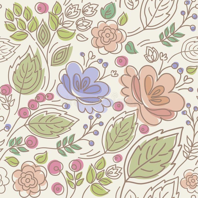 Inconsútil, estampado de flores, color, hojas, bayas, ramitas, y flores stock de ilustración