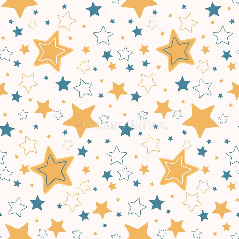 Inconsútil exhausto del vector de la historieta de la mano estrellada linda del cielo stock de ilustración