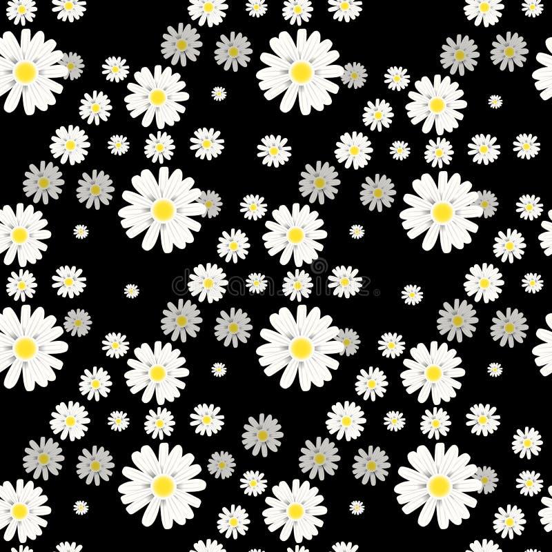 Inconsútil floral ditsy hermoso en el fondo negro eps10 stock de ilustración