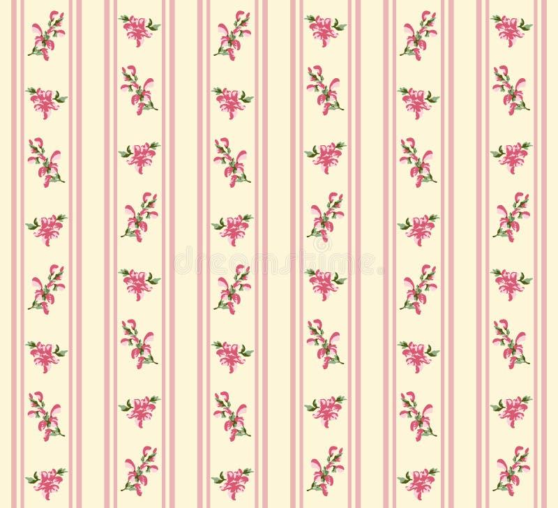 Inconsútil floral retro rayado stock de ilustración