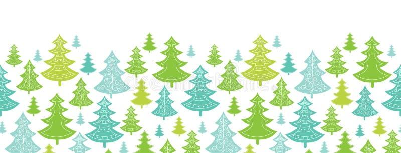 Inconsútil horizontal de los árboles de navidad del día de fiesta ilustración del vector
