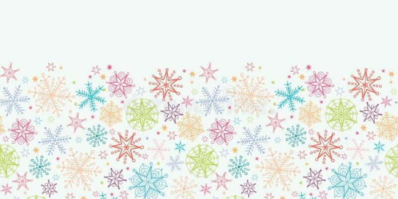 Inconsútil horizontal de los copos de nieve coloridos del garabato ilustración del vector