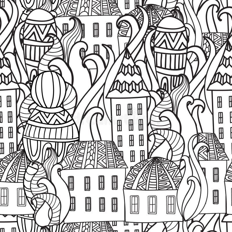 Inconsútil pattren la ciudad mágica Libro de Colorieng para los adultos stock de ilustración
