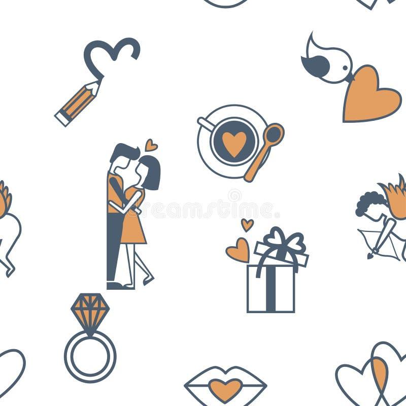 Inconsútil romántico con símbolos del día de tarjetas del día de San Valentín libre illustration