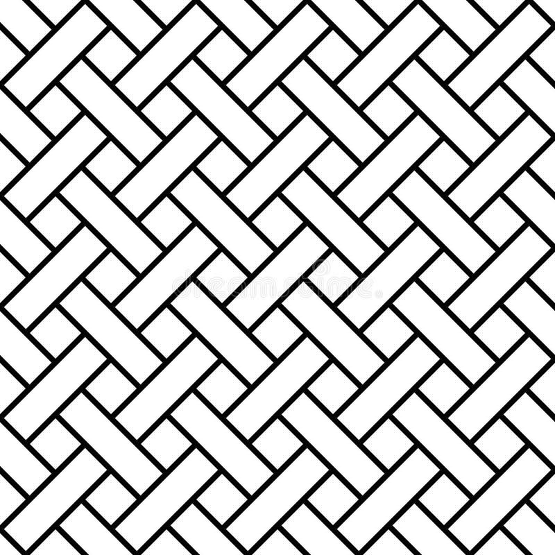 Inconsútil trenzado, línea del arte, rayas geométricas del trenzado del modelo, shinglas diagonales, tabla, listón ilustración del vector