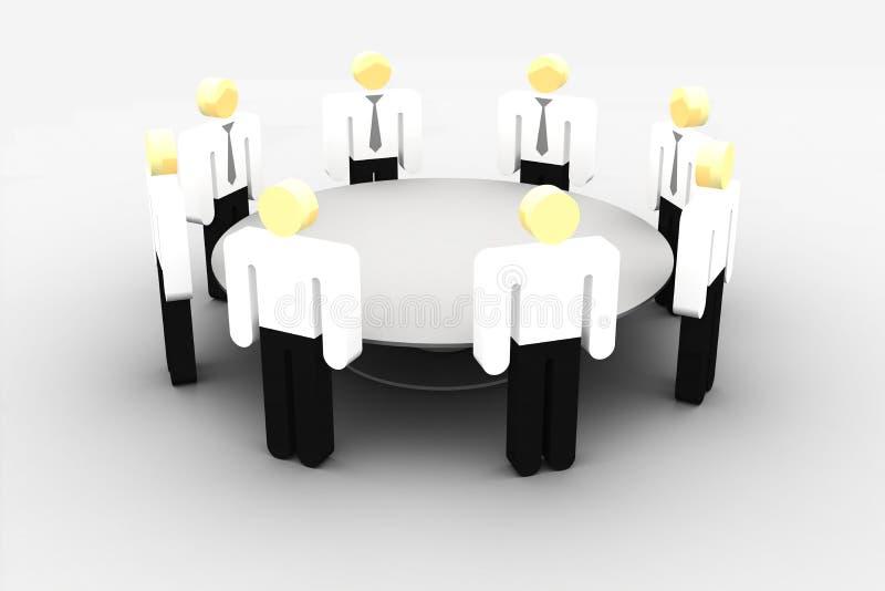 Incontrandosi alla tavola rotonda illustrazione vettoriale