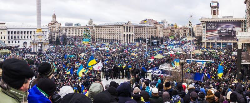 Incontrandosi per l'integrazione europea nel centro di Kiev immagini stock libere da diritti