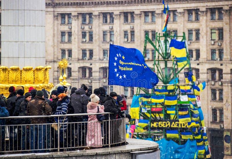 Incontrandosi per l'integrazione europea nel centro di Kiev fotografie stock