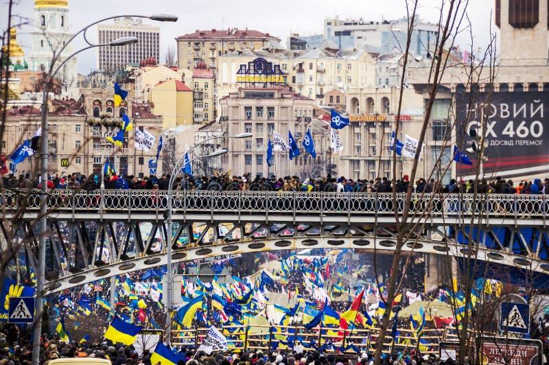 Incontrandosi per l'integrazione europea nel centro di Kiev fotografia stock