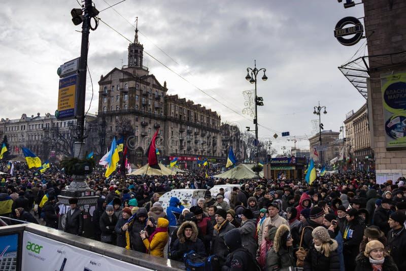 Incontrandosi per l'integrazione europea nel centro di Kiev fotografie stock libere da diritti
