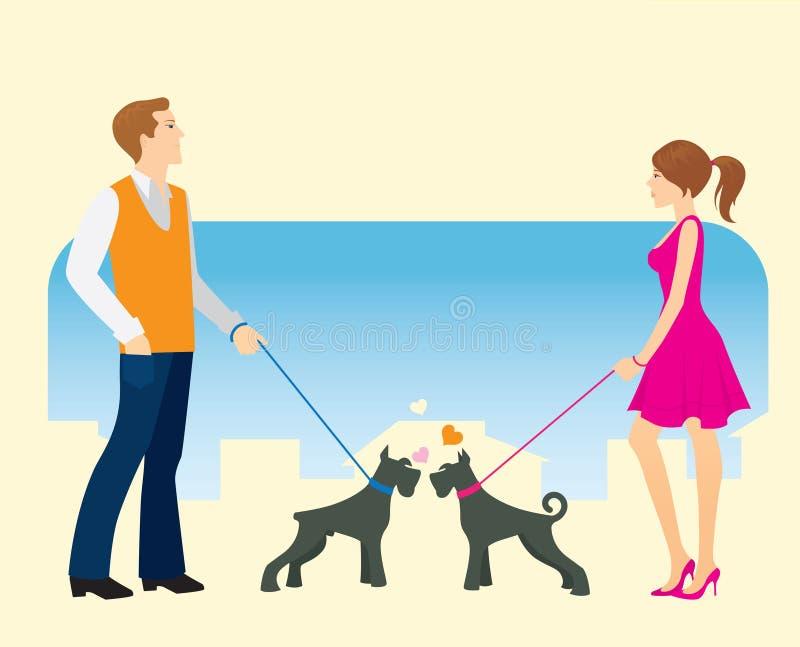 Incontrandosi per una camminata royalty illustrazione gratis