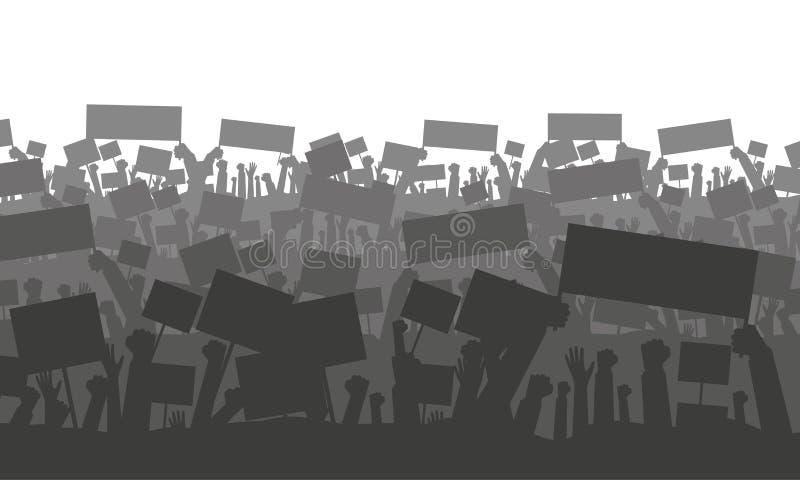 Incoraggiando o protestando folla con le bandiere royalty illustrazione gratis
