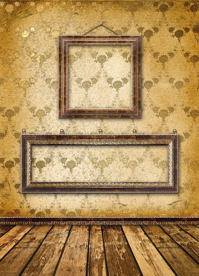 incornicia la parete del victorian di vecchio stile dell'oro royalty illustrazione gratis