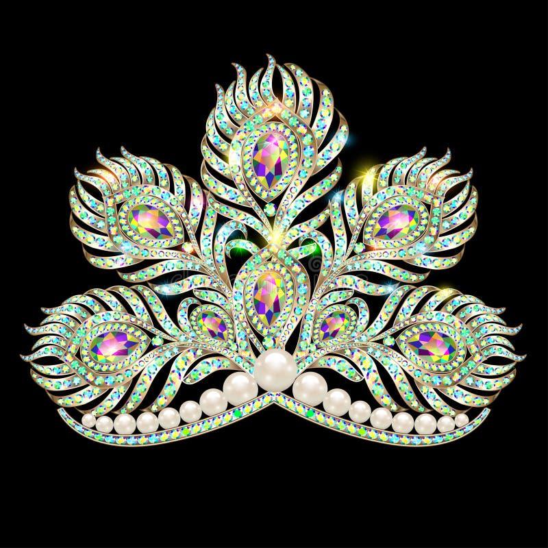 incoroni l'oro femminile della piuma del pavone del diadema con il precio royalty illustrazione gratis