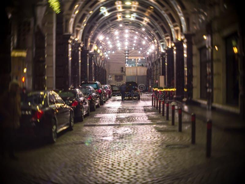 Incorporar el hotel Ritz Carlton Moscow en el fondo del expe fotos de archivo