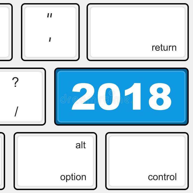 Incorpore la llave con el número 2018 Ilustración del vector libre illustration