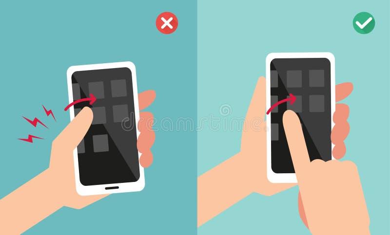 Incorrecto contra sostenerse apropiado de la mano y el teléfono elegante conmovedor stock de ilustración