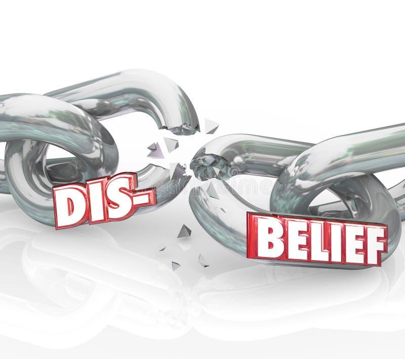 Incrédulité Word cassant le doute perdant à chaînes de religion de foi illustration stock