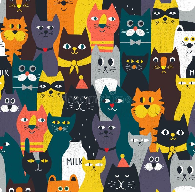Incrível padrão perfeito para gatos. Um passado infinito e colorido com uma multidão de animais domésticos e selvagens ilustração stock