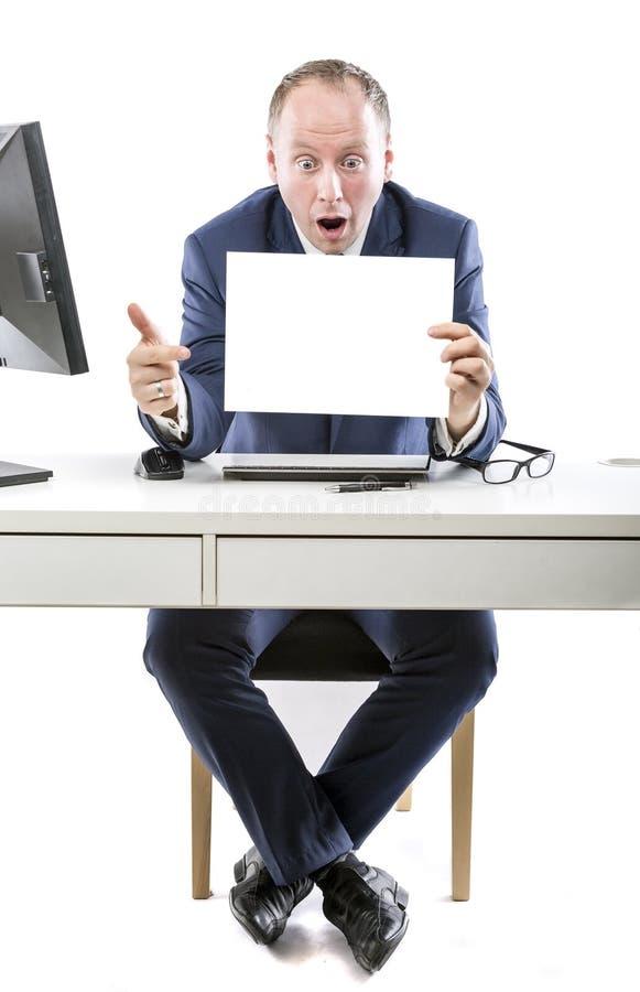 ¡Increíble! Hombre de negocios chocado por lo que él ha visto foto de archivo