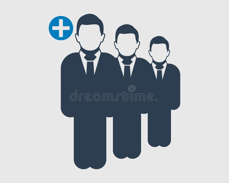 Increase or Add users Icon. Standing male symbol on gray background. Flat style vector EPS stock illustration