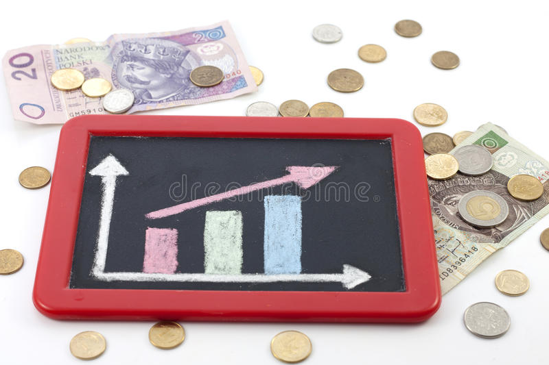 Increase arrow up on blackboard royalty free stock photo