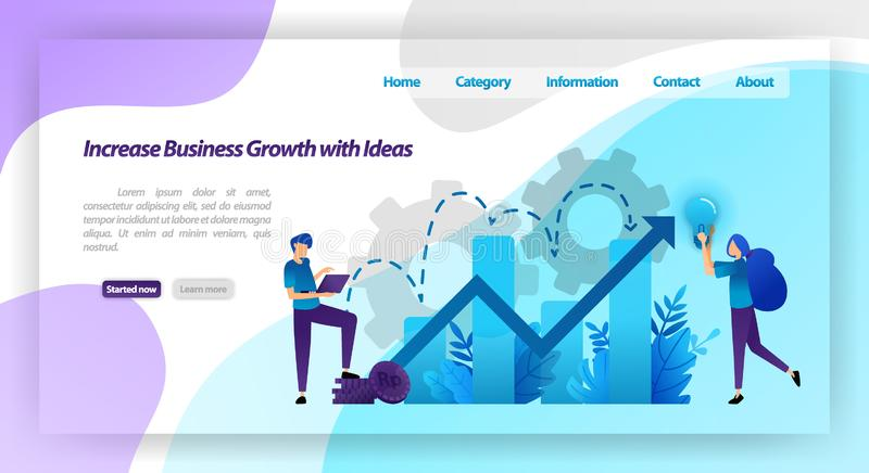 Increase business growth with idea. financial chart to increase company value and experience in business. vector illustration conc. Ept for landing page royalty free illustration