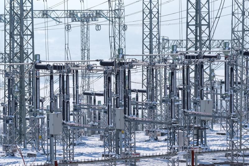Increase in the cost of electricity. Distribution electric substation. Distribution electric substation. Increase in the cost of electricity stock image