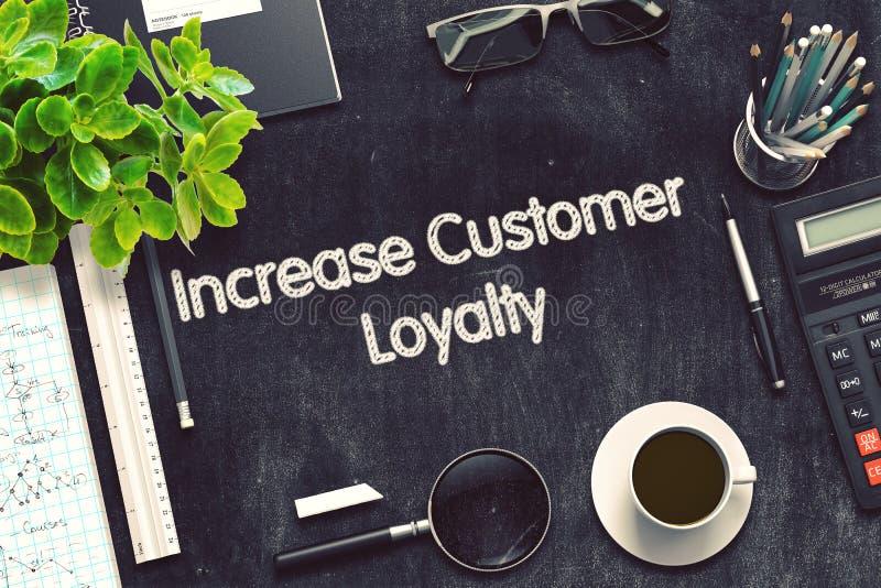 Increase Customer Loyalty on Black Chalkboard. 3D Rendering. royalty free stock photos