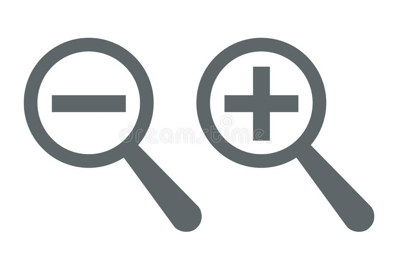 Increase-decrease magnifiers icons. Plus and minus zoom tool symbols. Search information signs. Zoom in, Zoom out icon royalty free illustration
