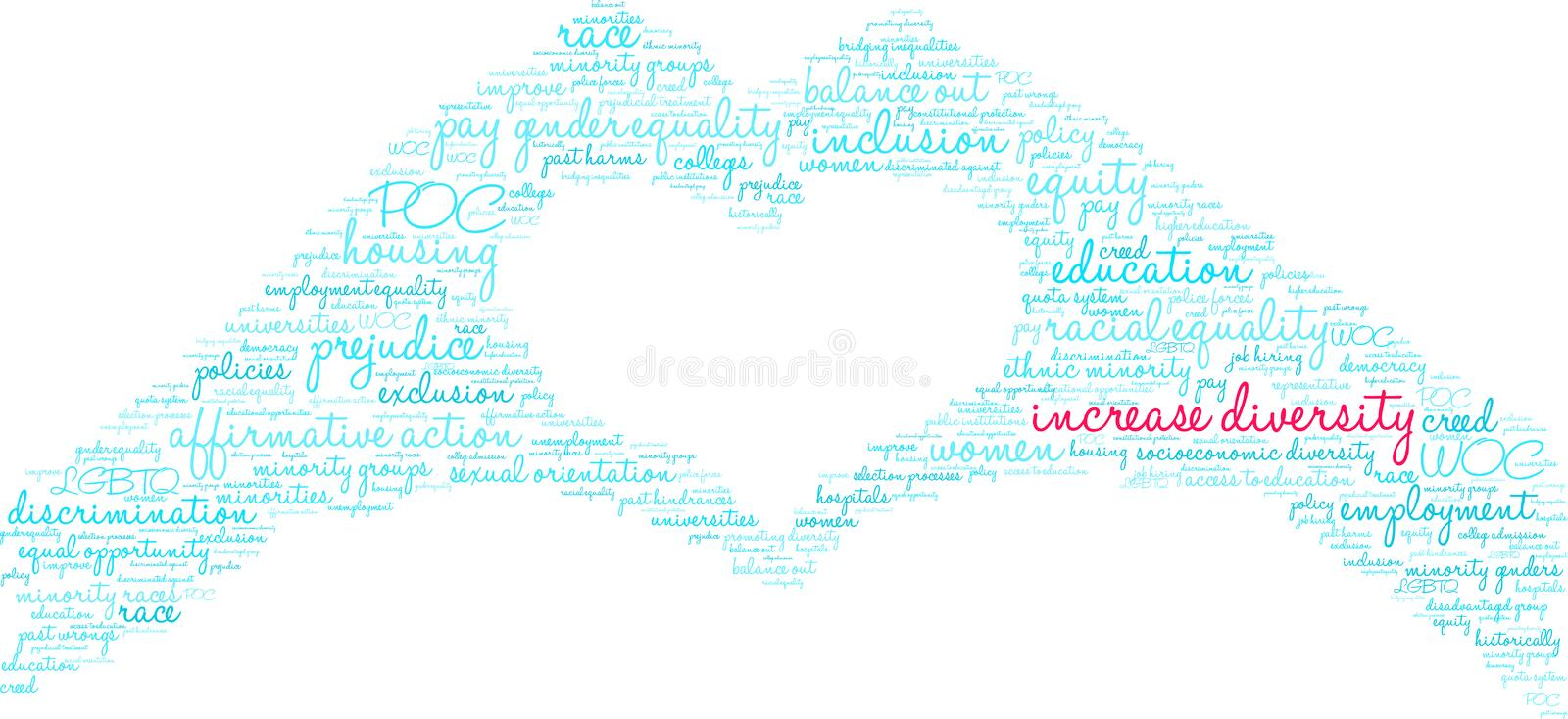 Increase Diversity Word Cloud. On a white background stock illustration