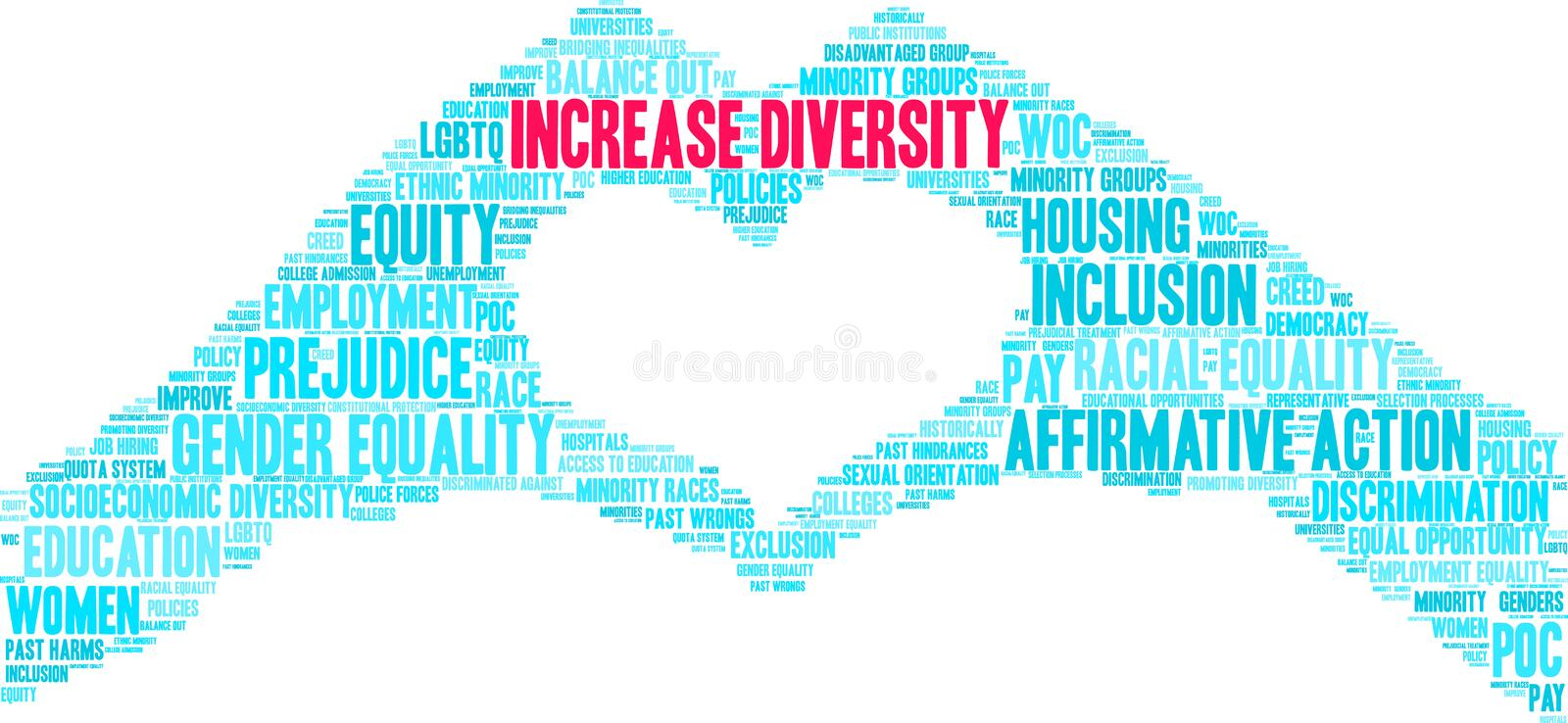 Increase Diversity Word Cloud. On a white background royalty free illustration