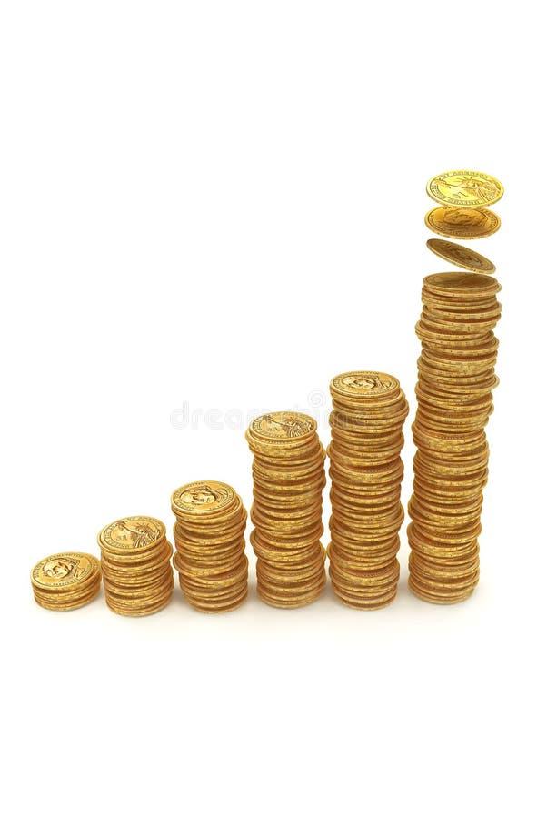 increase för graf för stångdollarguld arkivbild