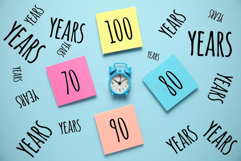 Increase in longevity community. Aging society, retirement. Average life extension growth royalty free stock image