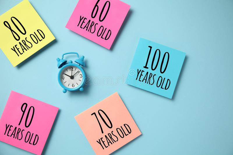 Increase in longevity community. Aging society, retirement. Average life extension growth stock photography