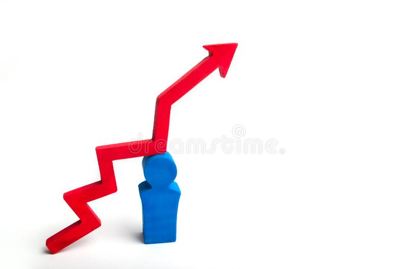 Increase in the number of gays and homosexuality. a wooden figure of a blue men and a red arrow over him. gay marriage concept. co. Py space. LGBT growth. same stock photos