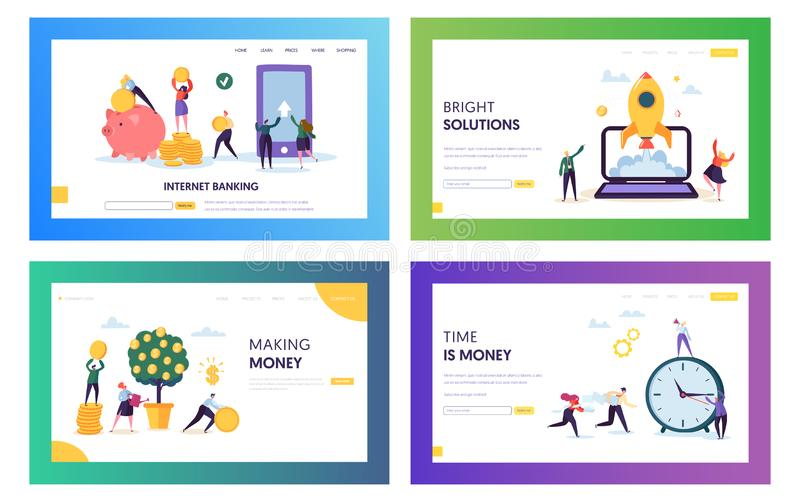 Increase Own Capital Landing Page Set. Bright Solution and Smart Choice Save and Earn Money. Internet Banking Access Account stock illustration