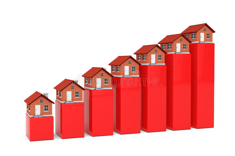 Increase in Price of Real Estate Concept. Houses over Bar Graph. Increase in Price of Real Estate Concept. Houses over Bar Graph on a white background. 3d stock illustration