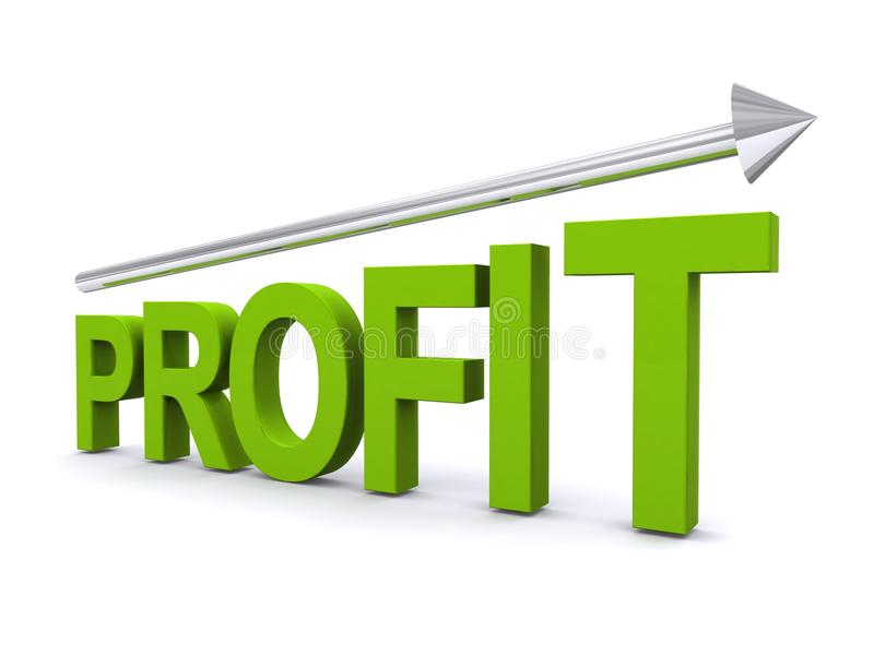 Increase In Profit. Vector image of profit with arrow isolated on white stock illustration