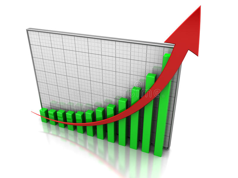 Increase profit. Success concept, graph showing the increase profit royalty free illustration